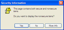 This page contains both secure and nonsecure items. Do you wish to display the nonsecure items?